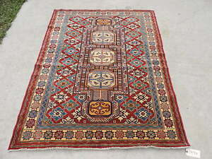5x6ft Tribal Caucasian Shirvan Wool Rug