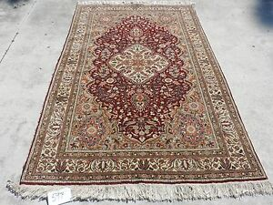 5x7ft Elegant Persian Tabriz Kashan Medallion Wool Rug
