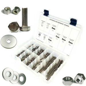Stainless Steel Hex Tap Bolts 1 4 20 Assortment Kit With Nuts Washers 256pc