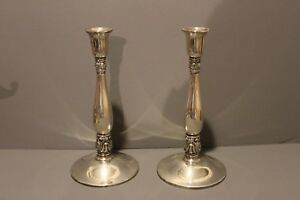 Royal Danish International Sterling Silver Candle Holders Candlesticks 10 Inches