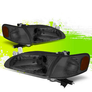 For 98 00 Toyota Corolla Smoked Housing Amber Corner Headlight Lamps Left Right
