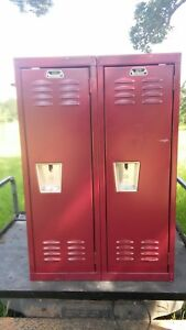 Used Red School Gym Locker 36 hx24 wx12d