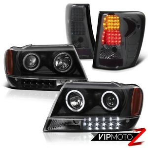 Jeep 99 04 Grand Cherokee Wj Black Projector Headlight Led Tail Light Brake Lamp