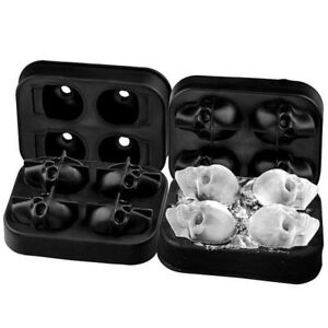 Whiskey 3D Skull Shape Ice Ball Maker Mold Black Flexible Silicone Ice Tray Cube