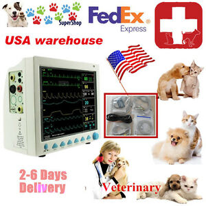 Patient Monitor Veterinary Vet 6 Parameter ecg nibp pr spo2 temp resp fda Ce