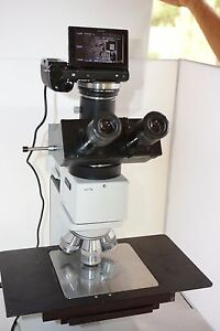 Leitz Leica Laborlux 12 Hl 5x5 Wafer Microscope 3 Objectives Camera Trinocular