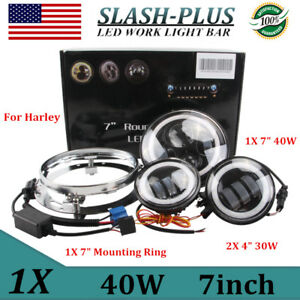 7inch 40w Led Headlight 2x 4 5 30w Cree Led Fog Light For Harley Mounting Ring
