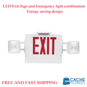 Led Exit Sign And Emergency Light Combination Energy Saving Design 120 277vac