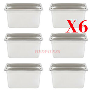6set 1 4 Size Nsf 4 5 Qt Stainless Steel Steam Table Hotel Pan 6 Deep