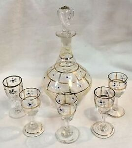 Antique Victorian Hand Enameled Decanter Cordial Glass Set Etched Mark 18