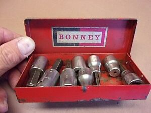 Vtg Lot Of Eight 8 Bonney Sockets W Collectible Bonney Steel Box Nice Old Lot