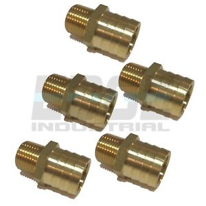 5 Pack 1 Hose Barb X 1 2 Male Npt Brass Pipe Fitting Npt Gas Fuel Water Air