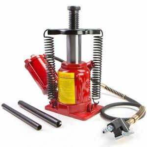 New 20 Ton Air Manual Pneumatic Hydraulic Low Profile Bottle Jack Lift Auto Tool