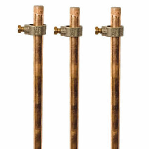 Ground Rod Kit 3 Six Foot Copper coated Ground Rods 3 Ground Rod Clamps