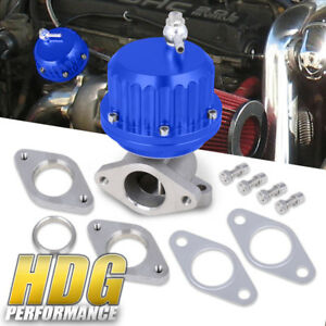 Universal Drift Vertical Ribbed Exhaust Manifold Wastegate Boost Blue 38mm