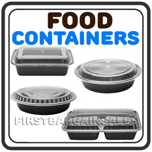 Food Containers Lids Microwavable Rectangular Or Round Takeout Storage 150ct