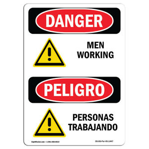 Osha Danger Sign Men Working Heavy Duty Sign Or Label