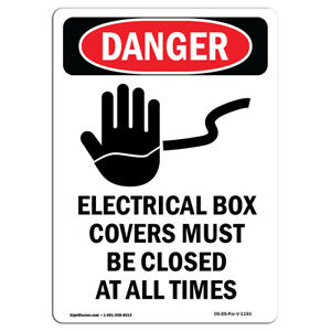Osha Danger Electrical Box Covers Must Be Closed Heavy Duty Sign Or Label