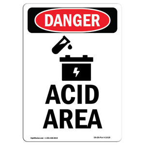 Osha Danger Sign Acid Area Heavy Duty Sign Or Label