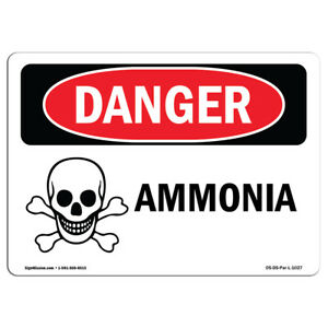 Osha Danger Sign Ammonia Heavy Duty Sign Or Label