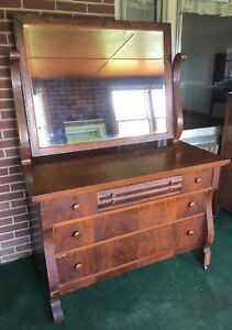 Vintage American Empire Style Large Dresser With Swing Beveled Mirror