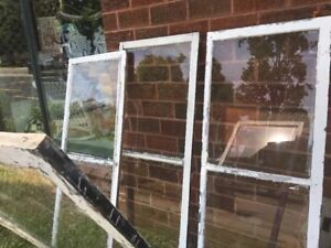 Lot 4 Vtg Antique Wood Window Frame Storm Two Single Pane Glass 27 5 70 5 Tall