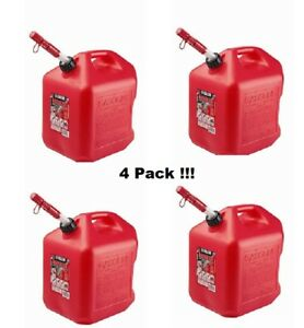 Gas Cans 5 gallon 4 pack Midwest Can Company 5600 Poly Gas Can Four Units Red