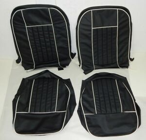 New Black W White Seat Upholstery Set Mgb 1962 68 Genuine Leather Made In Usa
