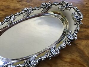Shiebler 118g Sterling Silver Scrolled Dish Vanity Pin Card Tray No Mono Oval 8