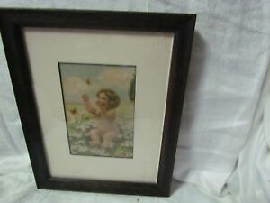 Mission Style Dark Oak Picture Frame Old Bessie Gutmann Pic Size 7 By 9 Matted