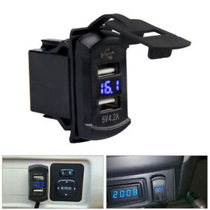 12v 24v Dual 2 Usb Port Car Boat Charger Socket Voltage Digital Panel Volt Meter