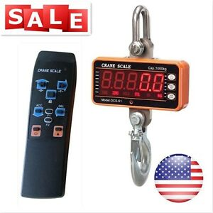 1000kg 2000 Lbs Crane Scale Digital Hanging Industrial Weight Hook Heavy Duty Us