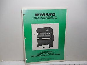 Wysong 35 Ton Series Hydro mechanical Press Brake Parts Instruction Manual Ma128