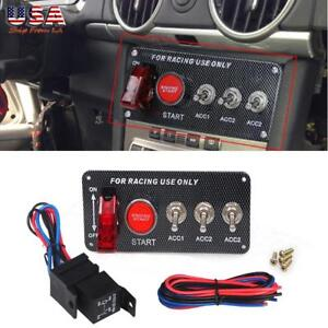 Refit 12v Led Toggle Ignition Switch Panel Engine Start Push Button Racing Kit