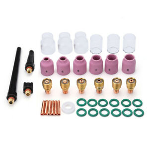 40pcs Tig Welding Stubby Gas Lens 10 12 Pyrex Cup Kit For Tig Wp 9 20 25 Series