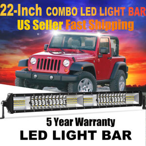 22inch 120w Led Work Light Bar Flood Spot Offroad 4wd Polaris Suv Atv Truck 20