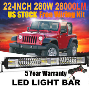Cree 22inch 280w Combo Led Light Bar Offroad Driving 4wd 4x4 Atv Boat Wiring Kit
