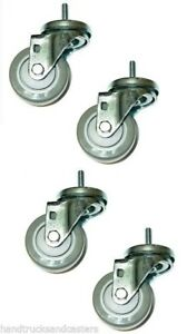 Four Casters W Gray 3 Poly Wheels And 3 8 X 1 1 2 Tall Threaded Stems