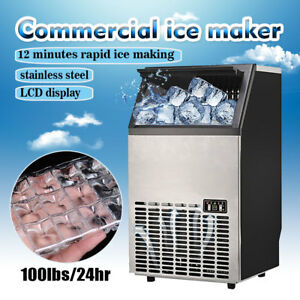 115v Stainless Steel Commercial 110lbs Undercounter Ice Maker Machine Cool Cube