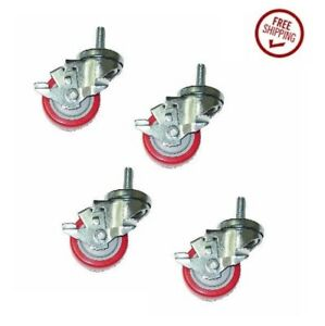 Set Of 4 Stem Casters 3 Red Poly Wheels And 3 8 Threaded Stem W Brakes