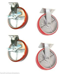 Set Of 4 Casters With 8 Poly On Steel Wheels 2 Rigid And 2 Swivel Brakes