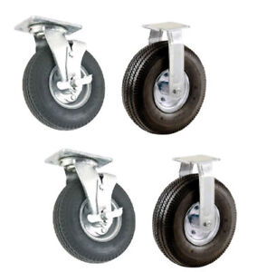 Set Of 4 Pneumatic Wheel Casters 10 Air Tires 2 Swivel With Brakes 2 Rigid