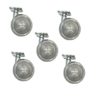 Set Of 5 Shepherd Satin Chrome Ball Caster With 1 1 2 Square Top Plate