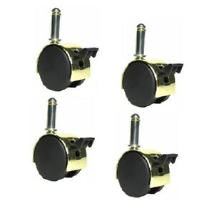 Set Of 4 Shepherd Pacer Twin Wheel 2 Caster Bright Brass Finish With 7 16