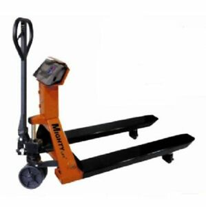 Scale Pallet Jack Lifts From 2 9 To 7 5 27 W X 48 L Forks 4400lbs Cap