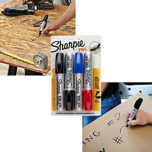 Chisel Tip Markers X Large Ink Sharpie Permanent Marker Black Red Blue 4 Count