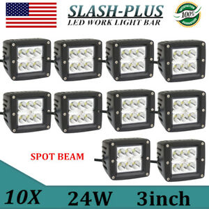 10x 24w Cree Spot Led Work Light Cube Pods Offroad Truck Square Save Flush Mount