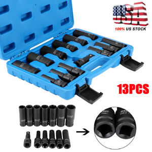 13pc 1 2 Inch Deep Impact Socket Tool Set Metric Long Air Allen Driver Case