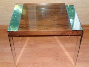 1960s 1970s Mid Century Modern Milo Baughman Chrome Rosewood End Table