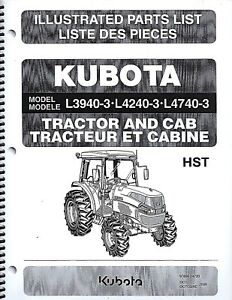 Kubota L3940 3 L4240 3 L4740 3 Tractor cab Illustrated Parts Manual 97898 24720